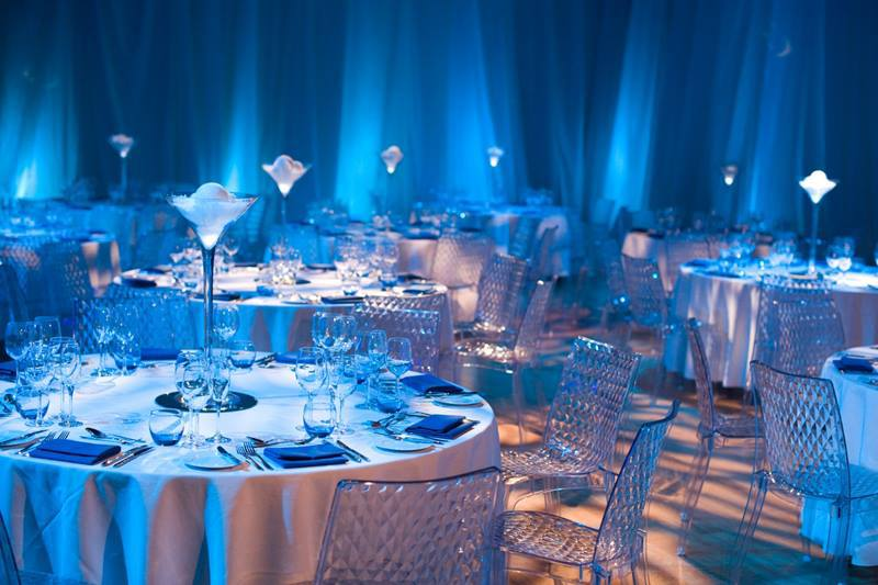 blue colour themed dining area