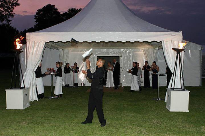 a man performing a magic show