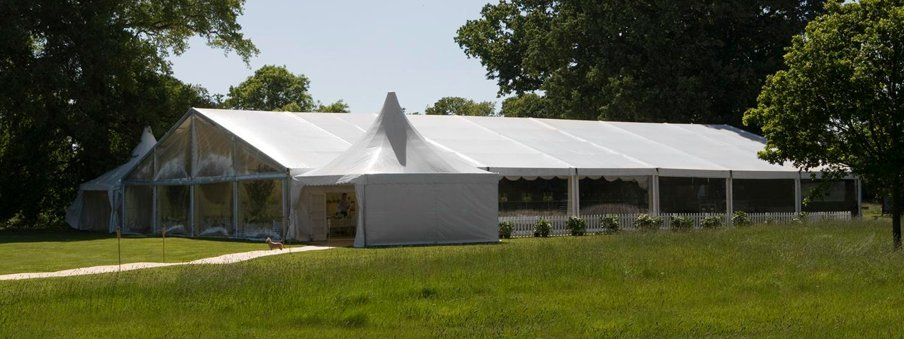 far view of the white marquees