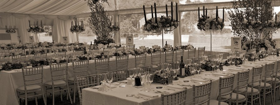 black and white image of dining area
