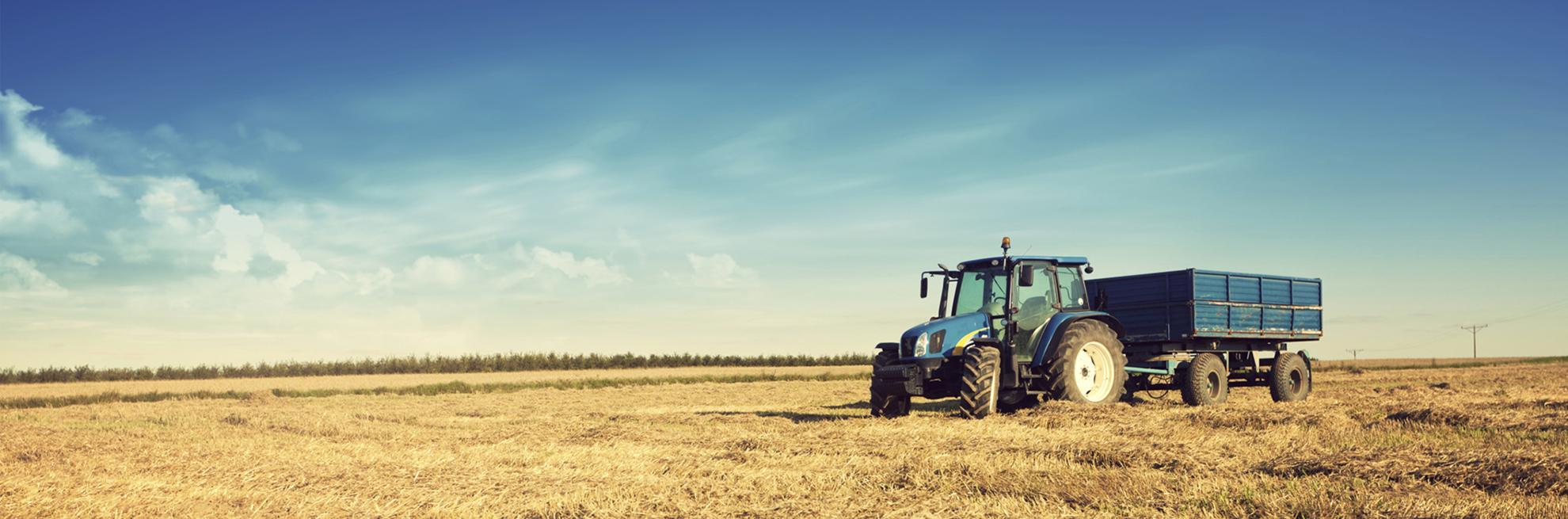 trattore con rimorchio in campo aperto