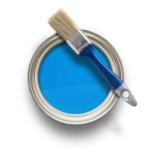 pennello con barattolo di vernice azzurra