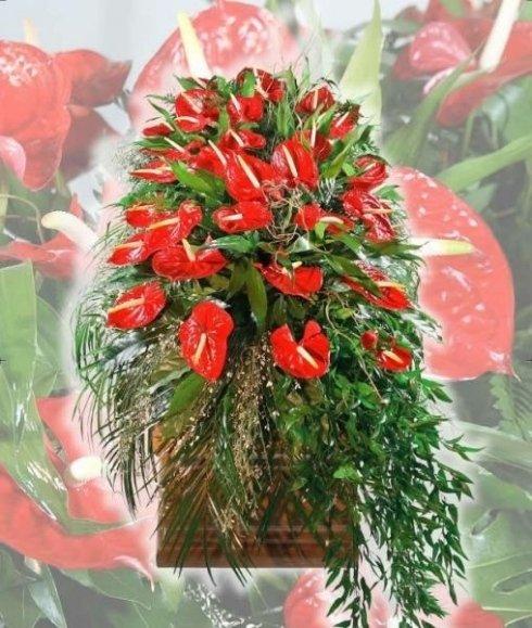 La onoranze funebri San Giorgio cura la disposizione di bouquet e corone per la cerimonia.