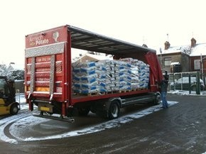 Potato delivery lorry being loaded at Armagh Potato Co Ltd