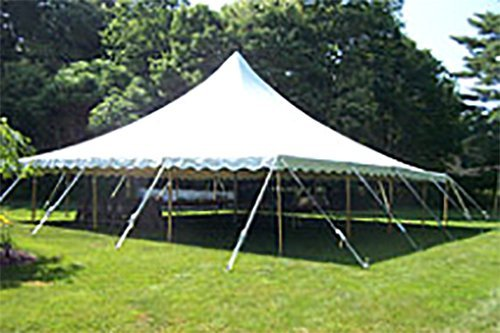 High top rental tent in garden in Webster, NY
