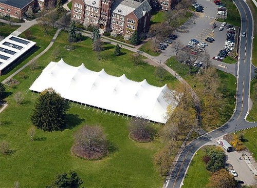 Top view of rented tent for event in Webster, NY
