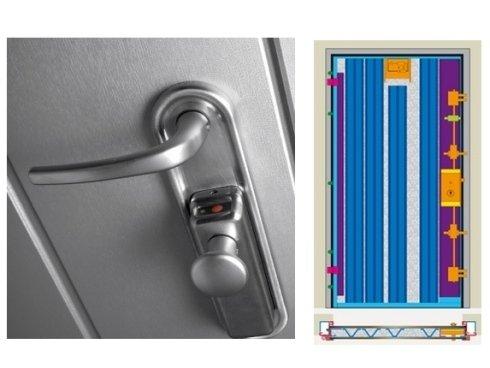 una porta blindata con la serratura in acciaio