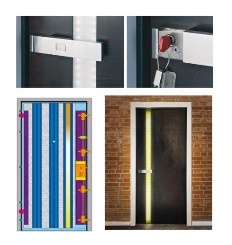 un porta blindata con luci  a LED
