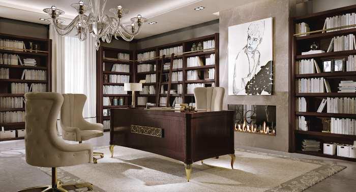 Una scrivania e degli armadi con dei libri