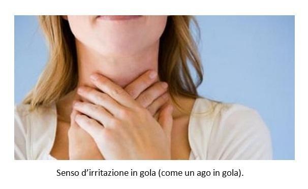 Senso d'irritazione in gola (come un ago in gola)