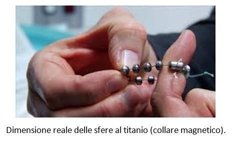 Dimensione reale delle sfere al titanio (collare magnetico)