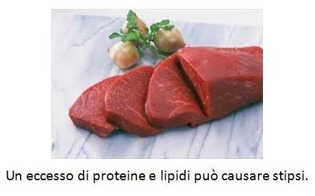 Un eccesso di proteine e lipidi può causare stipsi
