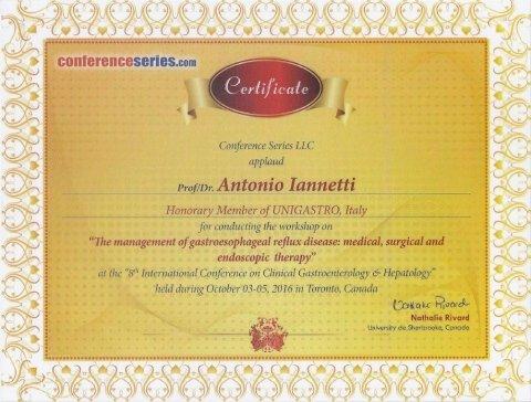 Honorary Member of UNIGASTRO, Italy