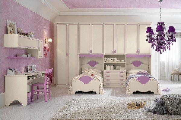 cameretta per bambina in stile classico color lilla
