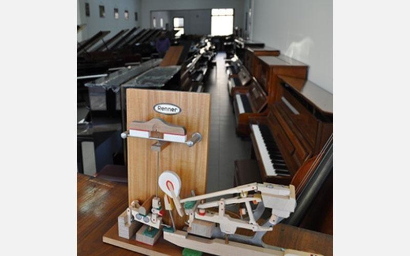 Spaccato di meccanica ,sullo sfondo una serie di pianoforti restaurati (Steinway & Sons – Krauss – Zimmermann –Schiedmayer - August Förster - Furstein)