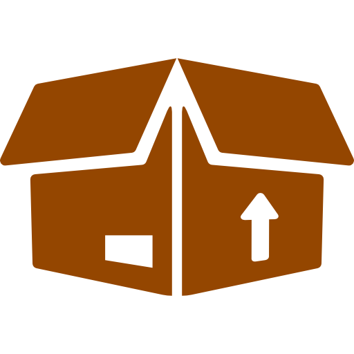 logo di uno scatolone aperto con una freccia disegnata