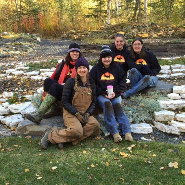 Group of  volunteers  at the Alaska Botanical Gardens in Anchorage, AK