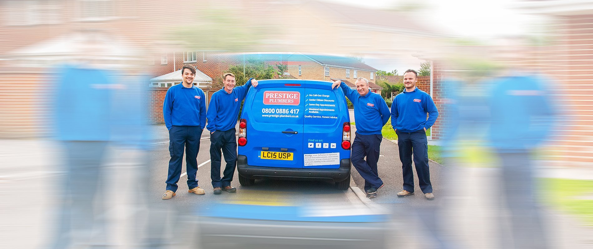 Local plumbers with a blue van