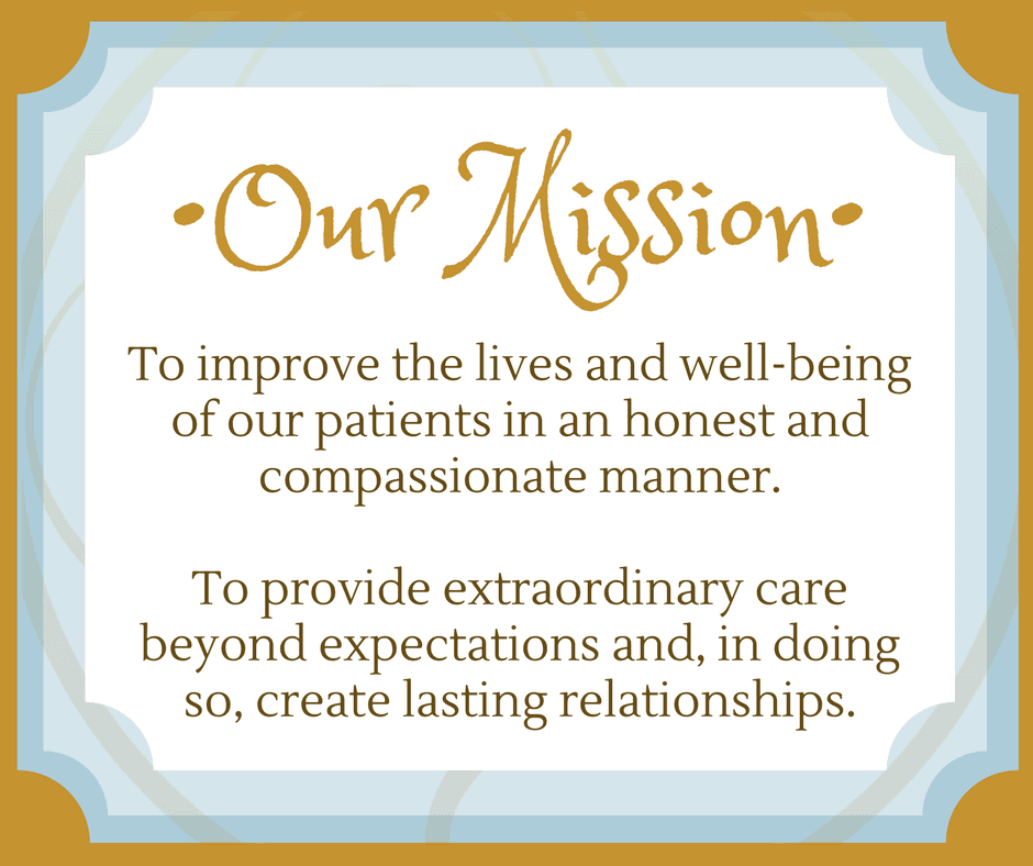Our Mission at Visage Facial Plastic Surgery: To improve the lives and well-being of our patients in an honest and compassionate manner. To provide extraordinary care beyond expectations and, in doing so, create lasting relationships.