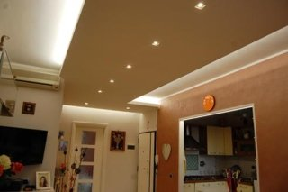 Controsoffitto galleggiante con led incassati