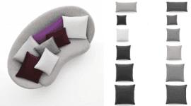 cuscini di diverse dimensioni, cuscini per divani, divano pieno di cuscini