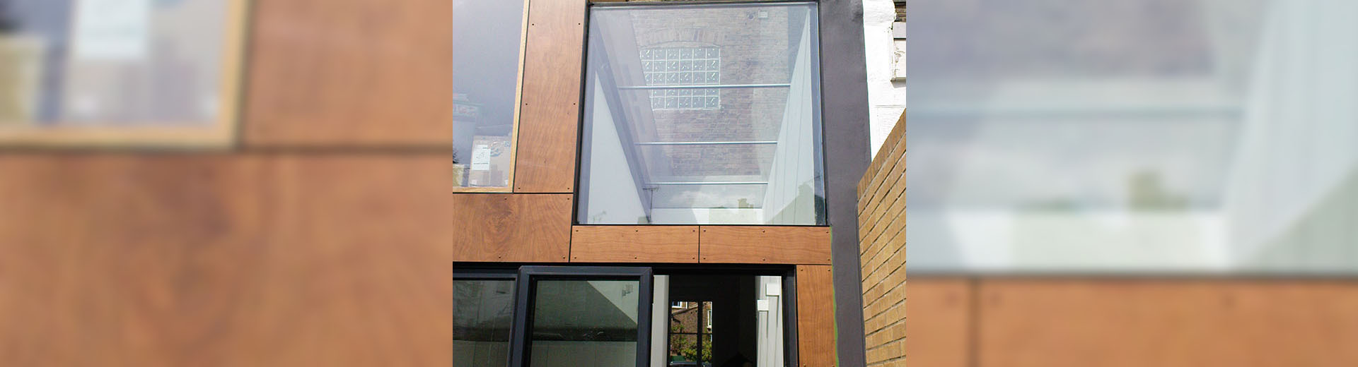 A glass window installation