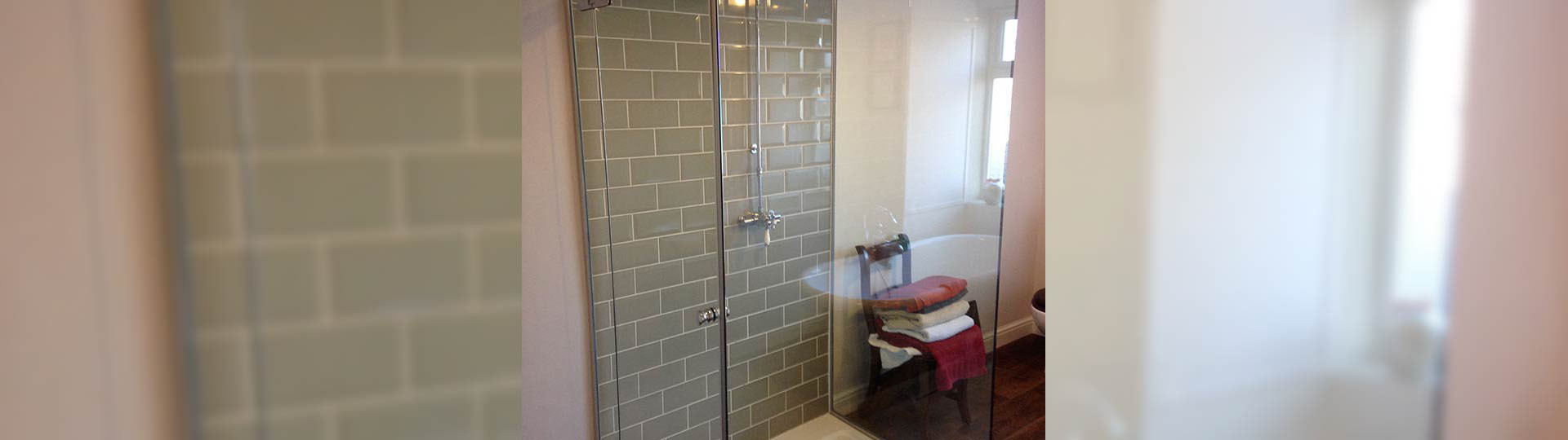 A glass shower