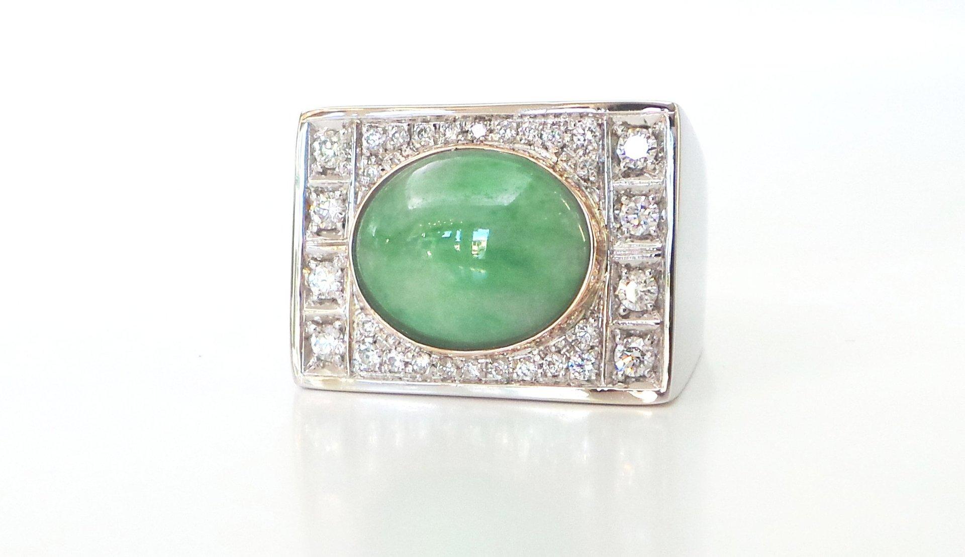 Cattelan - modello Art Decò - diamanti - giada - oro bianco e rosa 750