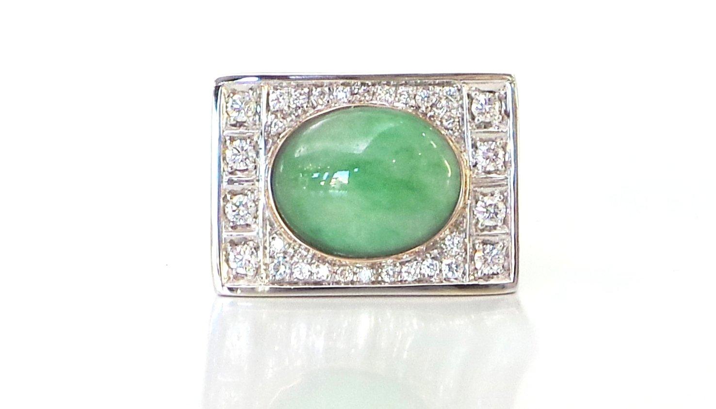 Cattelan - modello Art Decò - diamanti giada - oro bianco e rosa 750