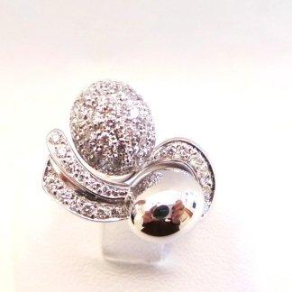 anello in oro bianco 750 con diamanti - modello oval double