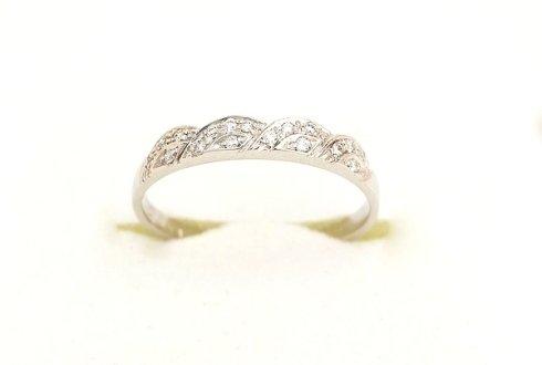 Cattelan - fedina oro bianco 750 con diamanti - modello onde