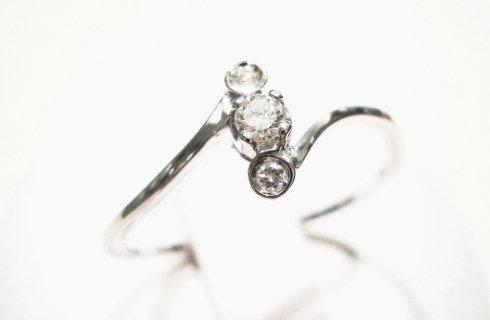 Cattelan - anello con diamanti in oro bianco 750 - trilogy 2 collezione les petits