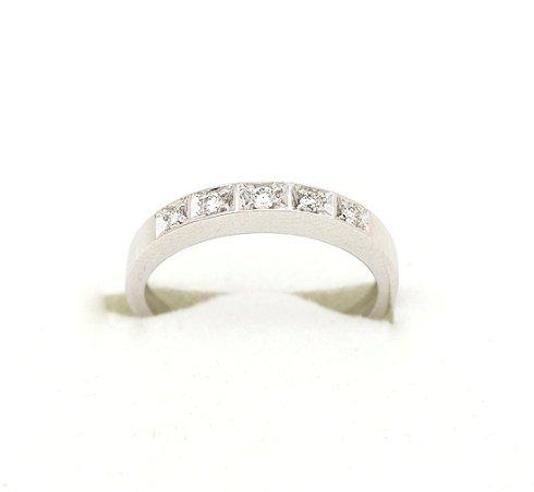 Cattelan - fedina in oro bianco con diamanti - modello geometrico