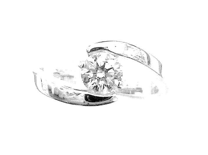 Cattelan - anello mod. solitario in oro bianco 750 con diamante