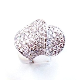 anello in oro bianco 750 con diamanti F vvs - modello double wave