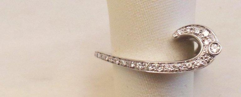 Cattelan - anello in oro bianco 750 con diamanti - mod. ricciolo