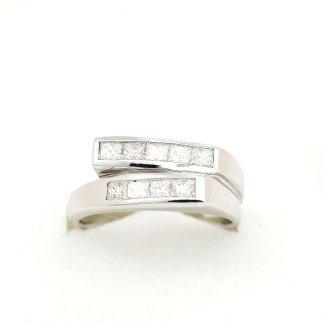 Cattelan - anello in oro bianco 750 con diamanti taglio princess