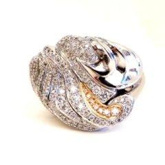 Anello in oro bianco e rosa 750 con diamanti - modello Asia