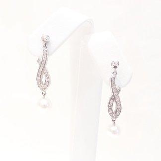 orecchini in oro bianco 750 con diamanti e perle coltivate