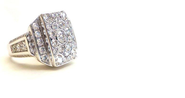 Cattelan - anello in oro bianco 750 con diamanti - mod. grattacielo