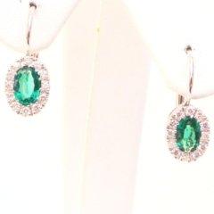 orecchini in oro bianco 750 con smeraldi naturali e diamanti