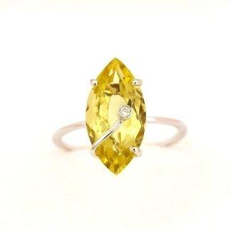 Cattelan - anello in oro bianco 750 con quarzo lemon e diamante -mod. rqz18
