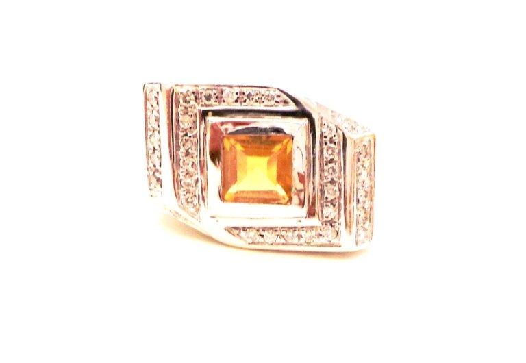 Cattelan - anello in oro bianco 750 con quarzo citrino e diamanti - mod.scolpito