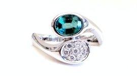 Cattelan - anello in oro bianco 750 con smeraldo e diamanti - mod. contrariè