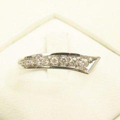 anello in oro bianco 750 con diamanti - modello curved