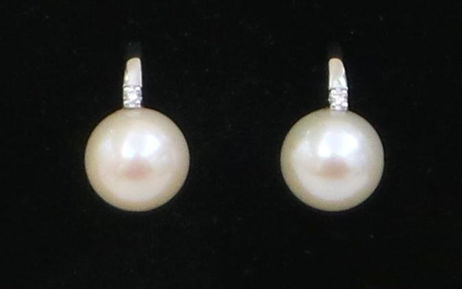 orecchini perle acqua dolce diamanti - oro bianco750