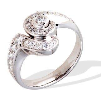 Anello in oro bianco 750 con diamanti - modello doppio ricciolo