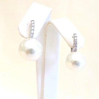 Cattelan - orecchini in oro bianco 750 con perle australiane e diamanti