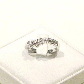 anello in oro bianco 750 con diamanti modello double curved