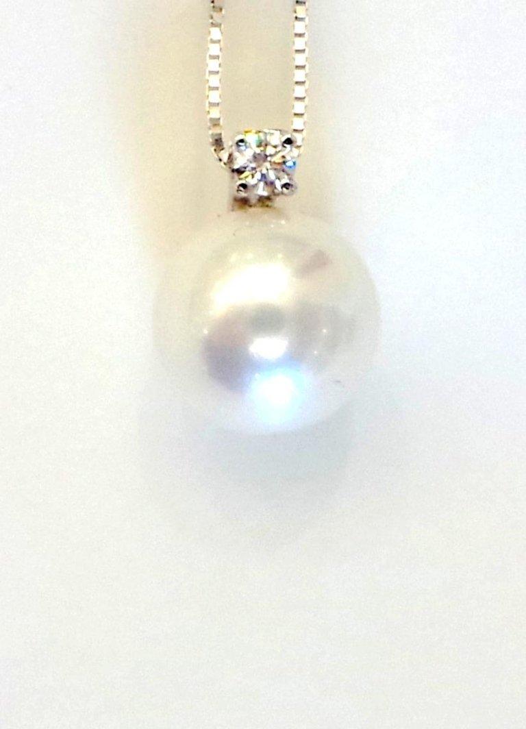 Cattelan - pendente in oro bianco 750 con perla e diamante